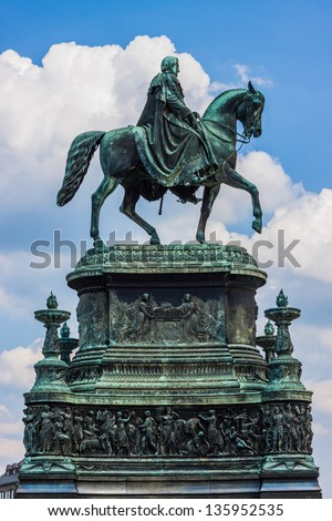 Equestrian Statue of King John of Saxony (Konig Johann I. von Sachsen) at Theaterplatz in Dresden, Germany - stock photo
