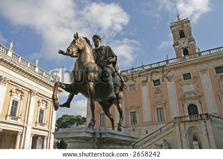 Equestrian statue of Marcus Aurelius in Piazza del Campidoglio in Rome - stock photo