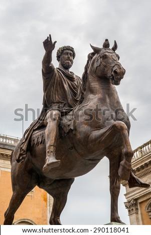 Equestrian statue of Marcus Aurelius in Piazza del Campidoglio in Rome  - stock photo