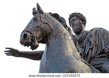 Equestrian statue of Marcus Aurelius on the Capitoline Hill of Rome, Italy - stock photo