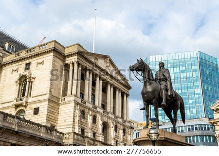 Equestrian statue of Wellington in London - England - stock photo