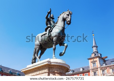 equestrian statue on the Plaza Mayor in Madrid, Spain