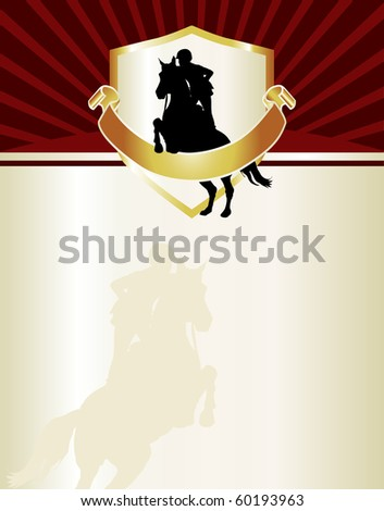 Equestrian themed letterhead or event flyer. Features female hunter jumper with chocolate, gold and red accents. - stock photo