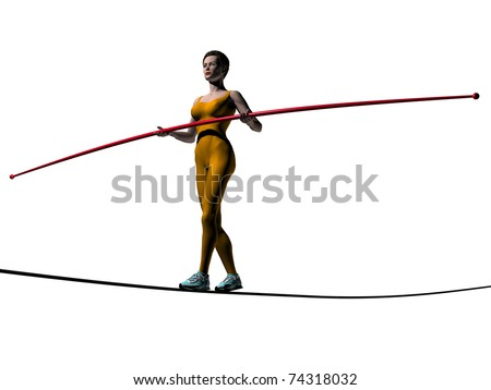 equilibrist, tightrope walker, balancing act - stock photo