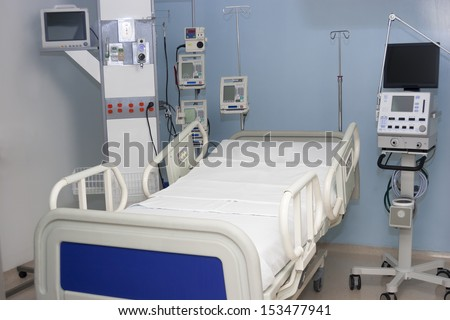 Equiped hospital room interior inside a modern and comfortable hospital