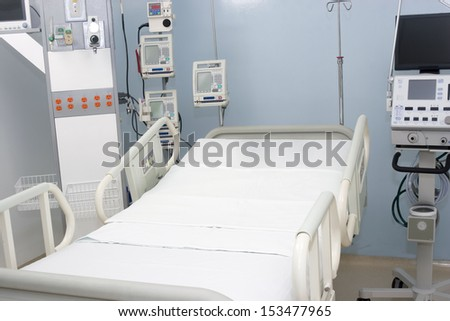 Equiped hospital room interior inside a modern and comfortable hospital - stock photo