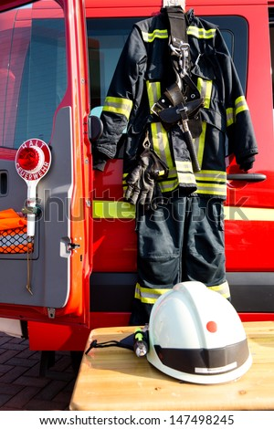 equipement of a german firefighter - stock photo
