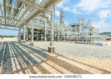equipment and pipeline in oil refinery in clear sky