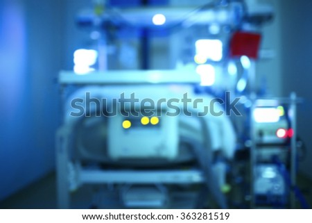 Equipment and technology in a hospital. Blurred medical background.