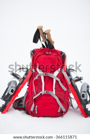 Equipment for a hike in the winter. .