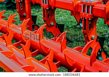 Equipment for agriculture, presented to an agricultural exhibition.