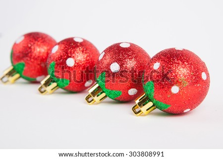 Equipment for decorating Christmas trees on white paper background