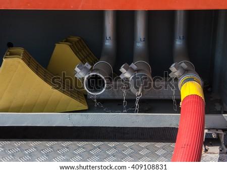 Equipment for fire fighting vehicle extinguishing.  - stock photo