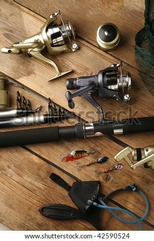 equipment for fishing - stock photo