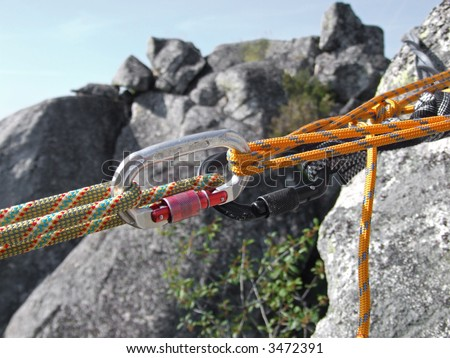 Equipment for mountain climbing and rappelling - stock photo