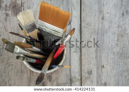 Equipment for painting and airbrush equipment  - stock photo