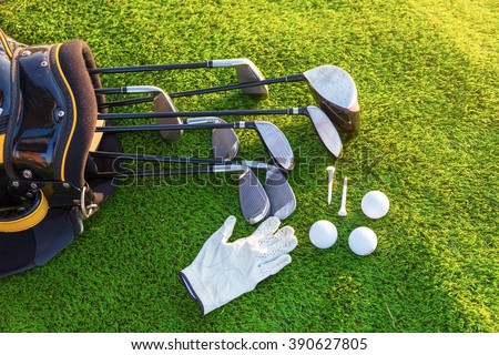 Equipment for playing golf. - stock photo