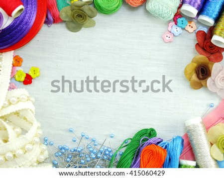 equipment for sewing accessories for handmade sewing kit border background with copy space - stock photo