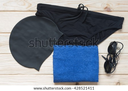 Equipment for swimming in the pool - stock photo