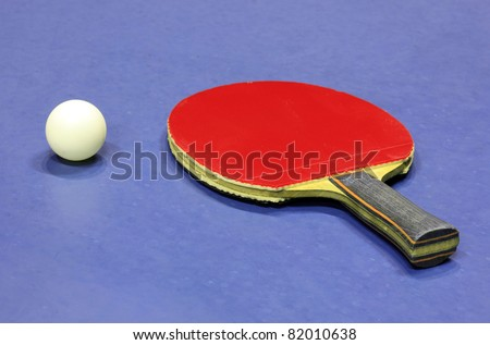 Equipment for table tennis - racket and ball - stock photo
