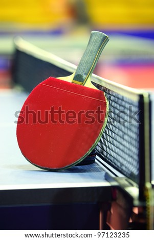 Equipment for table tennis - racket, ball, table - stock photo