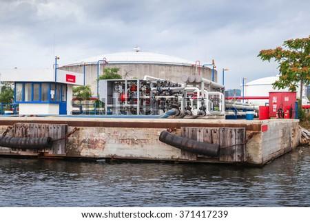 Equipment for tankers loading on Black sea coast in Varna port, Bulgaria - stock photo