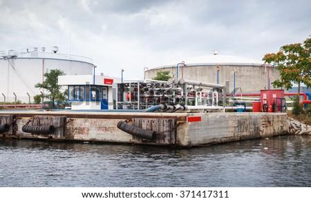 Equipment for tankers loading on Black sea coast, oil terminal of Varna port, Bulgaria - stock photo
