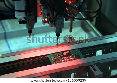 Equipment for the electronic control of the correct installation of printed-circuit boards - stock photo