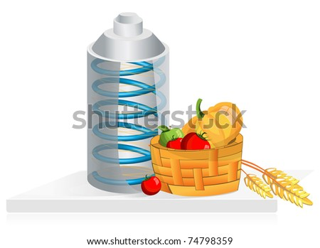 Equipment for the storage of products, can and vegetables in cart - stock photo