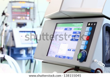 Equipment in the service of medicine. Modern device for hemodialysis. - stock photo