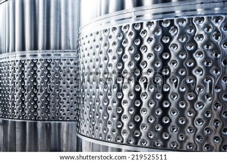 equipment made �¢??�¢??of stainless steel in the factory wine - stock photo