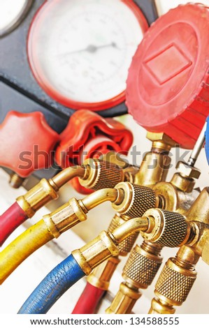 Equipment Measure of Air Conditioner - stock photo