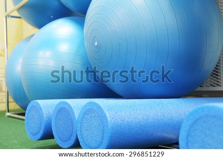 Equipment of a fitness hall - stock photo