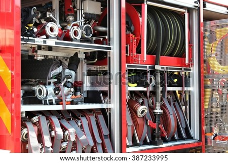 equipment of a modern fire engine - stock photo