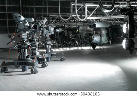 Equipment of a modern television studio. - stock photo