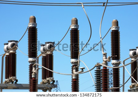 Equipment of high-voltage electric substation - stock photo