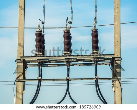 Equipment of high-voltage 3-phase - stock photo
