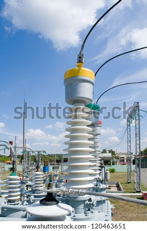 Equipment of high-voltage substation.Part of high-voltage substation with contacts of high-voltage transformer. - stock photo