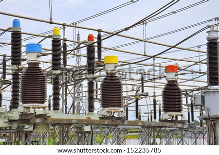 Equipment of high-voltage substation.Part of high-voltage substation with contacts of high-voltage transformer.