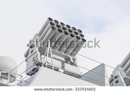 Equipment of warships - stock photo