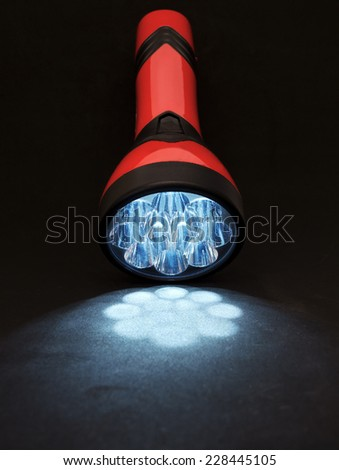 Equipment - Red Lantern - isolated - alight - black background - led - stock photo