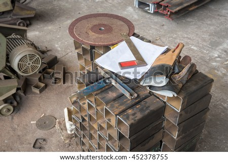 Equipment tool for cutting tube, Sheet tube metal  for industry. - stock photo