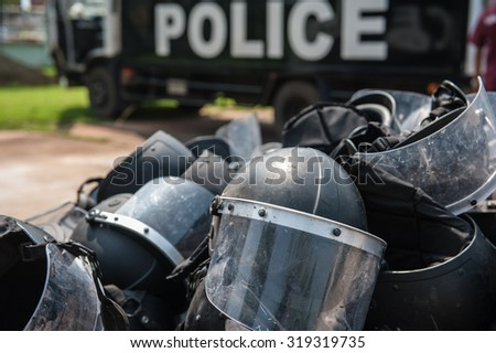 Equipment, uniforms of police crowd control.  - stock photo