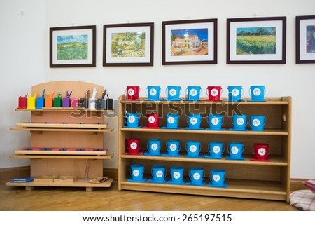 Equipments for teaching children in a kindergarten in Vietnam. - stock photo