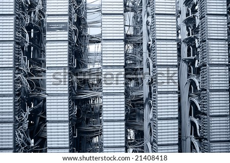 equipments of transportion in an communication server center - stock photo