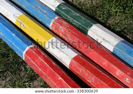 Equitation obstacles bars for horse jumping event - stock photo