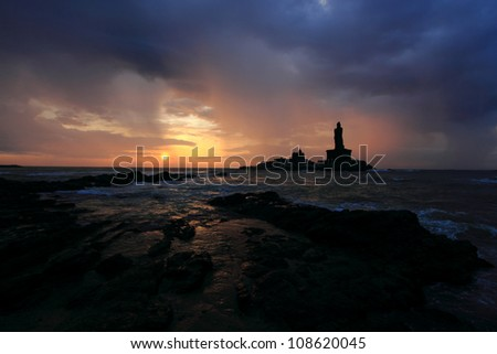 Erarly morning silhouette scene of Kanyakumari, the southernmost point of India - stock photo