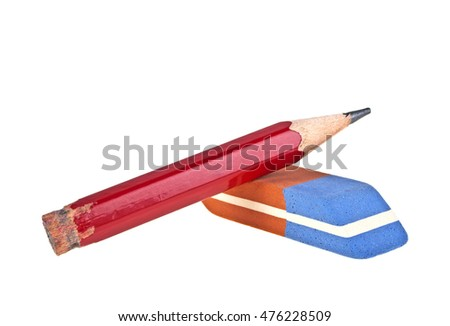 Eraser and red pencil isolated on a white background