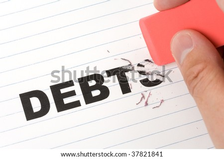 eraser and word debt, concept of Reduce Debt