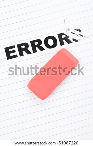 eraser and word error, concept of